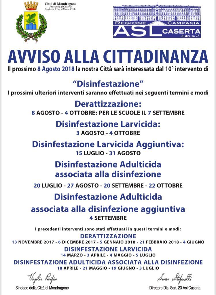 Manifesto aggiornato disinfezione - disinfestazione - derattizzazione