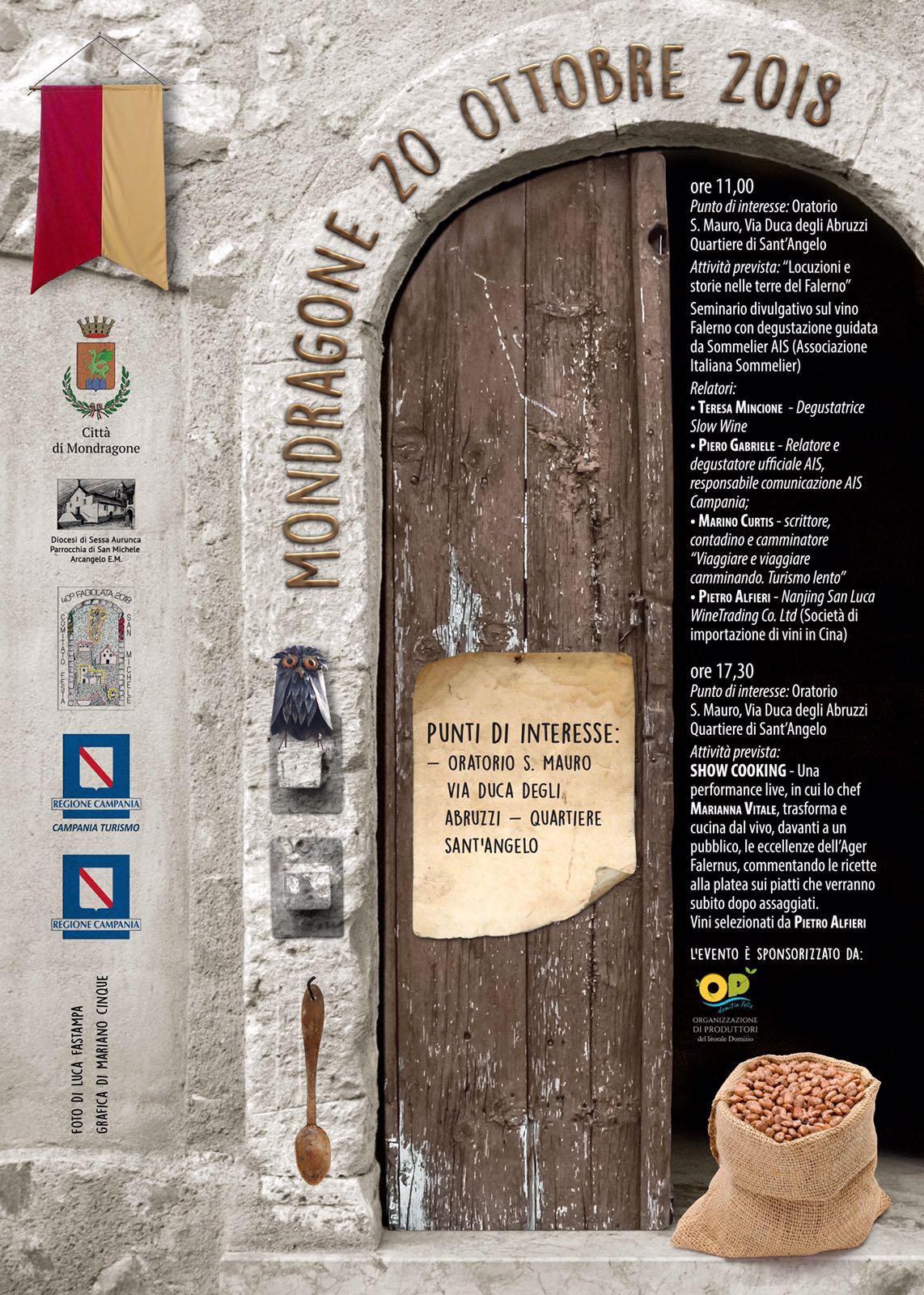 20 Ottobre 2018 Locuzioni e storie nelle terre del Falerno e show cooking