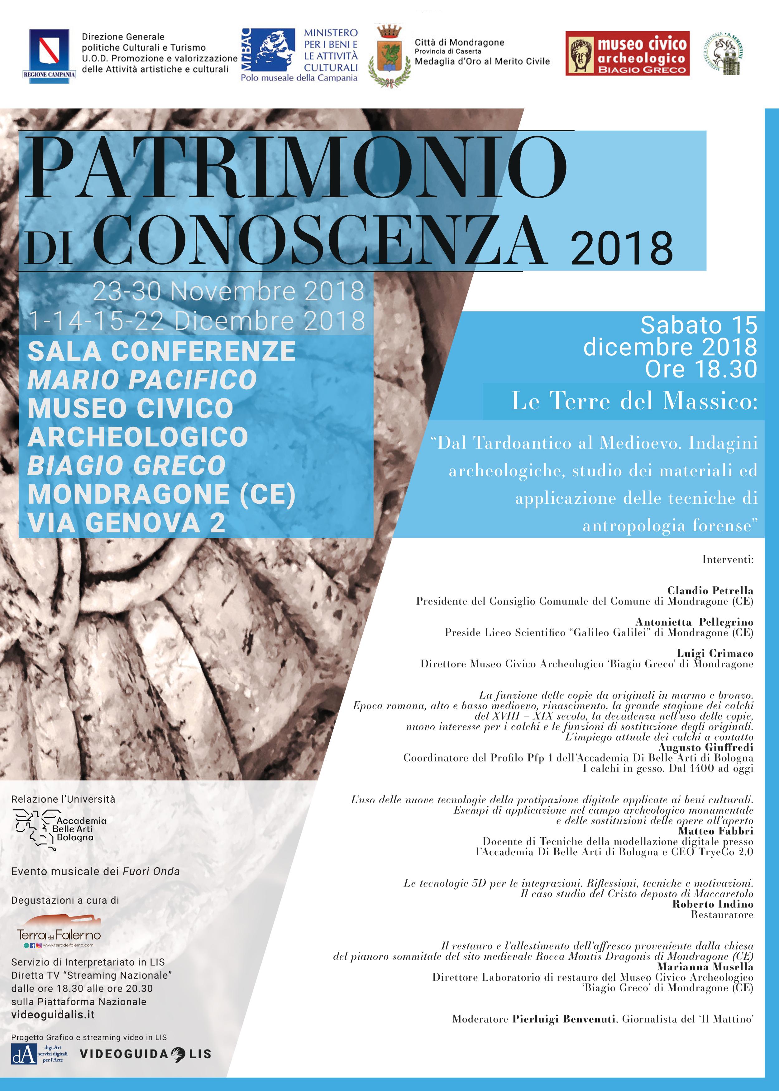Patrimonio di Conoscenza 2018 locandina quinto appuntamento