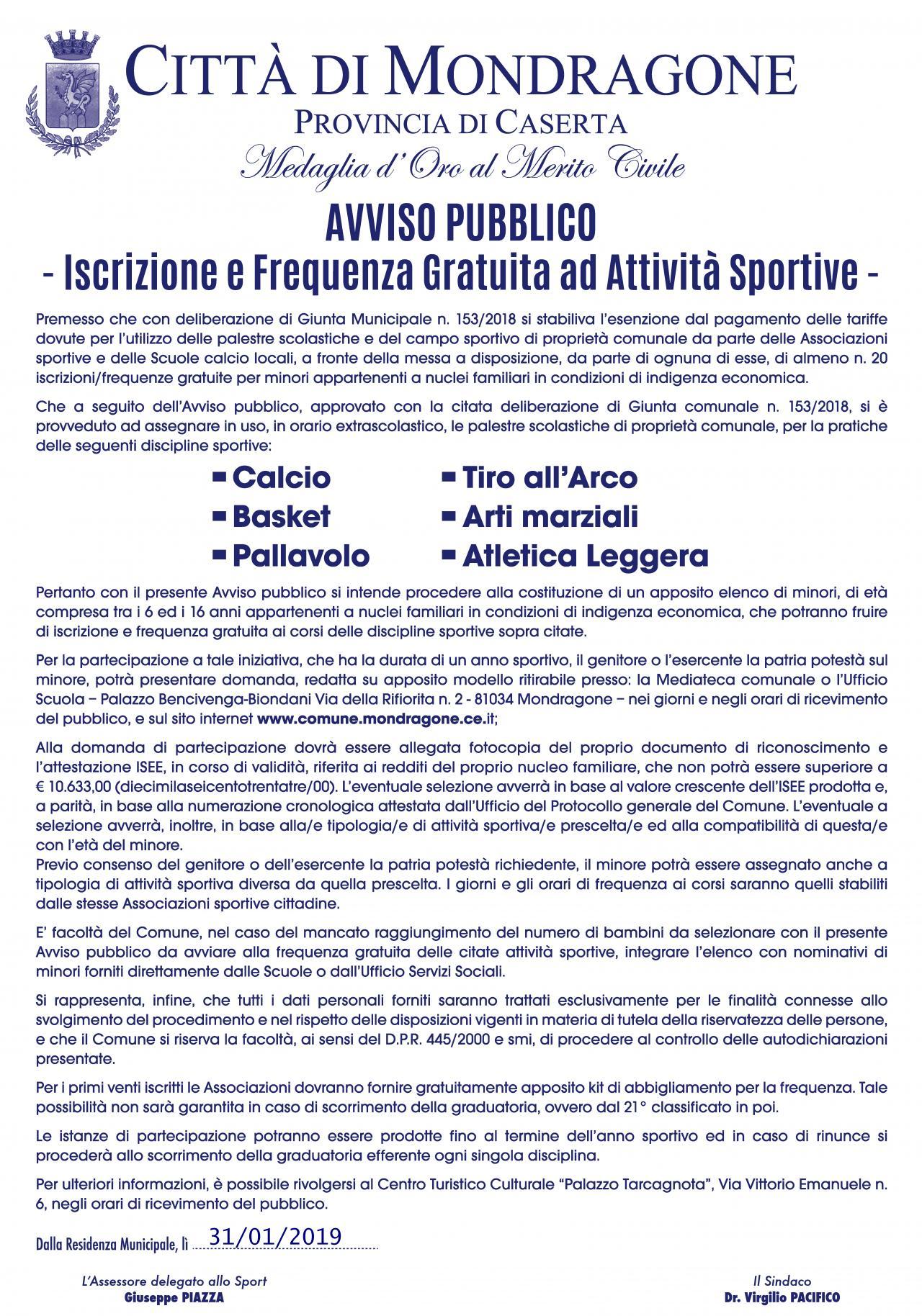 Manifesto iscrizione e frequenza gratuita palestre - 2019