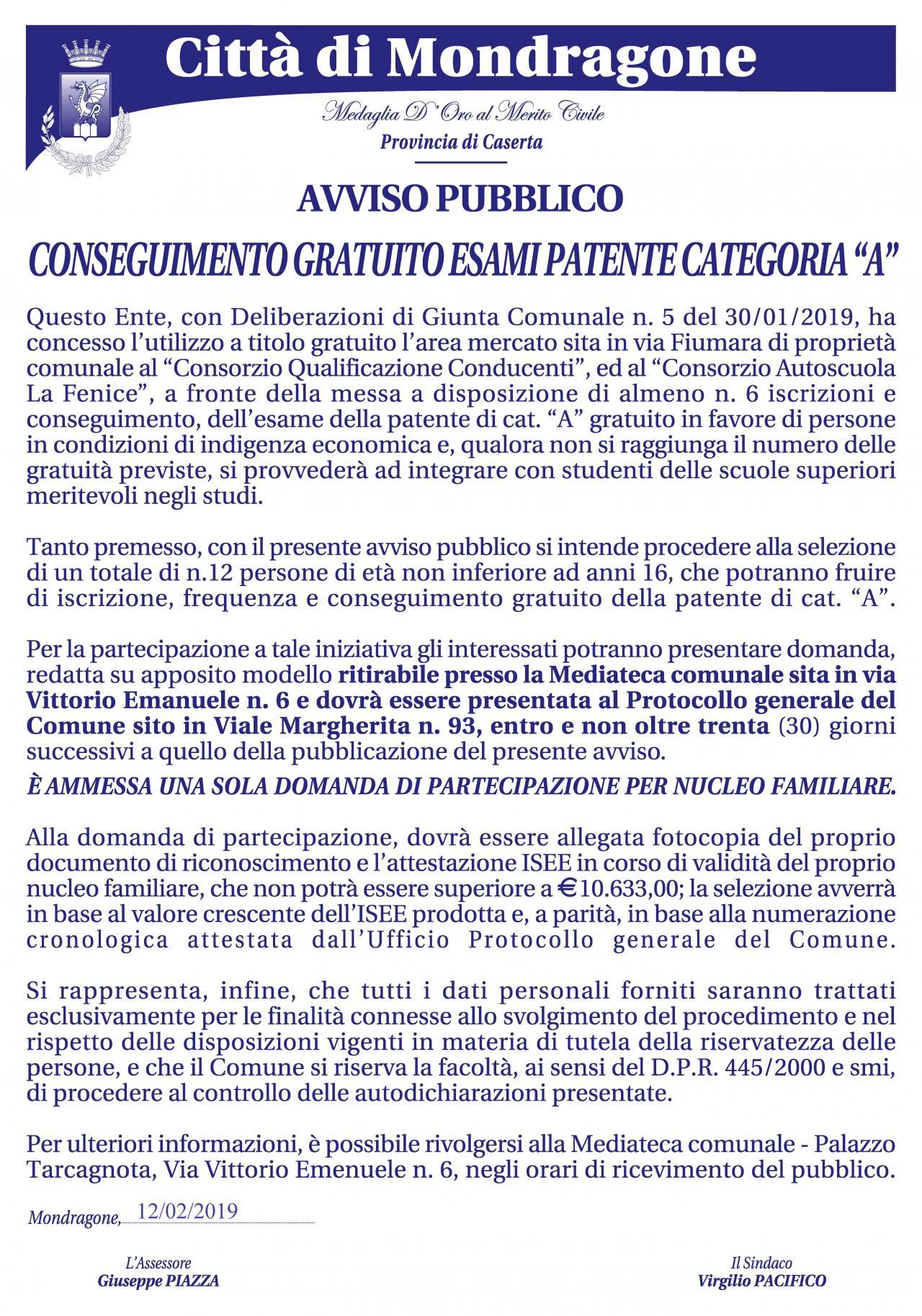 Patente categoria A - categorie svantaggiate